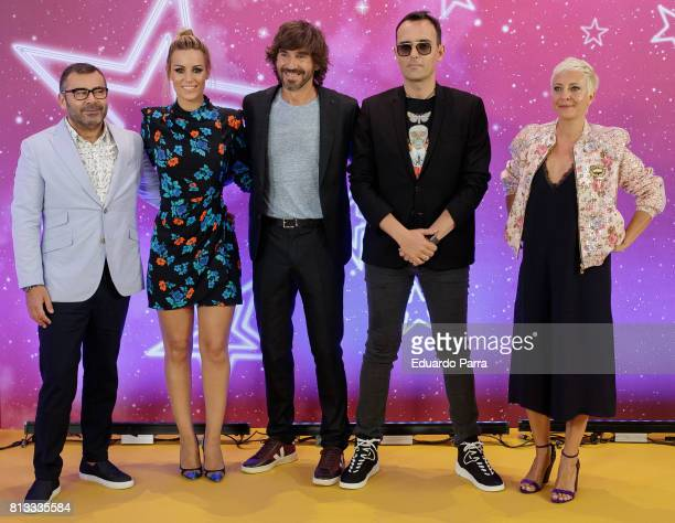 Jorge Javier Vazquez Edurne Santi Millan Risto Mejide and Eva Hache attend the 'Got Talent' photocall at Coliseum theatre on July 12 2017 in Madrid...