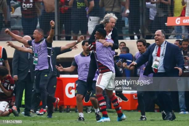 Jorge Jesus coach of Flamengo celebrates after after winning the final match of Copa CONMEBOL Libertadores 2019 between Flamengo and River Plate at...
