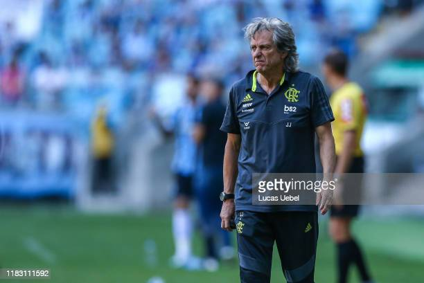 Jorge Jesus coach of Flamengo gestures during the match between Gremio and Flamengo as part of Brasileirao Series A 2019 at Arena do Gremio on...