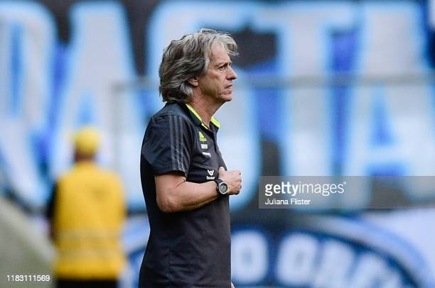 Jorge Jesus coach of Flamengo looks on during a match between Gremio and Flamengo as part of Brasileirao Series A 2019 at Arena do Gremio on November...