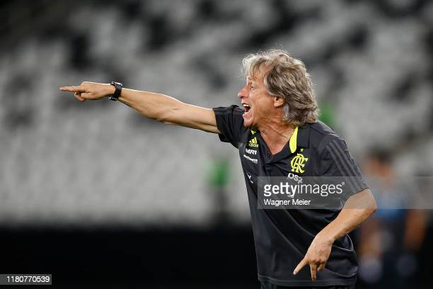 Jorge Jesus coach of Flamengo reacts during a match between Botafogo and Flamengo as part of Brasileirao Series A 2019 at Engenhao Stadium on...