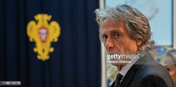 Jorge Jesus Head Coach of Brazilian Soccer team CR Flamengo arrives with his wife Ivone to be decorated by Portuguese President Marcelo Rebelo de...