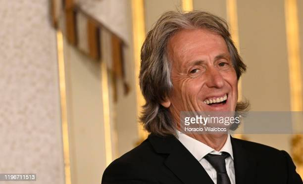 Jorge Jesus Head Coach of Brazilian Soccer team CR Flamengo laughs while waiting to be decorated by Portuguese President Marcelo Rebelo de Sousa with...