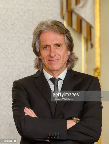 Jorge Jesus, Head Coach of Brazilian Soccer team CR Flamengo, waits to be decorated by Portuguese President Marcelo Rebelo de Sousa with the Order of...