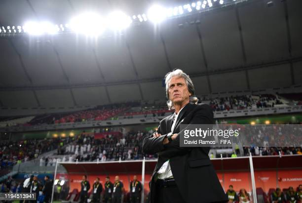 Jorge Jesus Head Coach of CR Flamengo looks on prior to the FIFA Club World Cup semifinal match between CR Flamengo and Al Hilal FC at Khalifa...