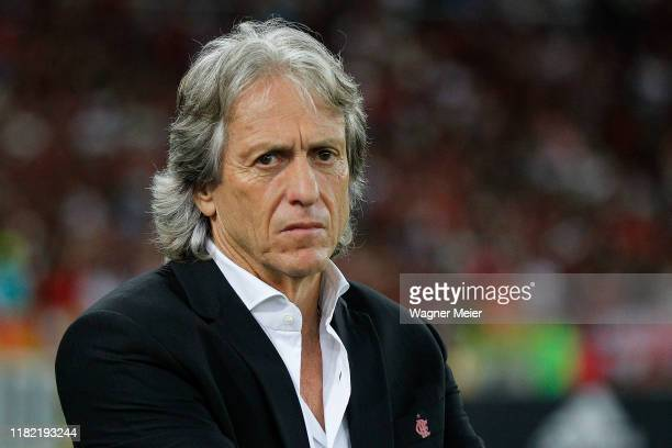 Jorge Jesus head coach of Flamengo looks on during a match between Flamengo and Vasco as part of Brasileirao Seria A 2019 at Maracana Stadium on...