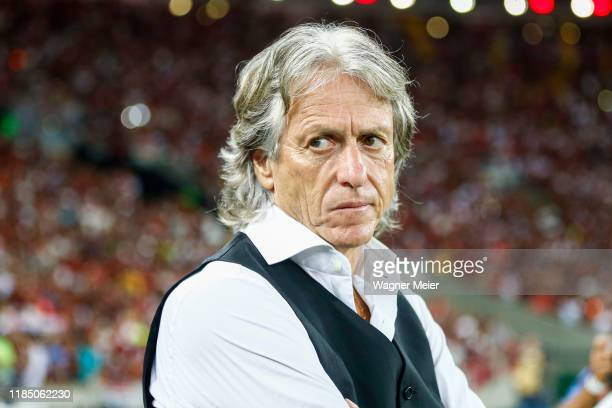 Jorge Jesus head coach of Flamengo looks on prior to the match against Ceará for the Brasileirao Series A 2019 at Maracana Stadium on November 27,...