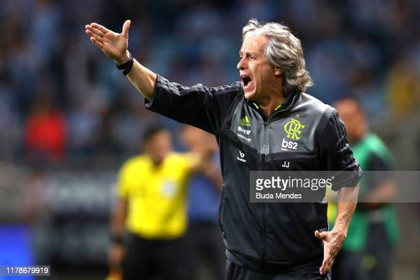 Jorge Jesus head coach of Flamengo reacts during a semi final first leg match between Gremio and Flamengo as part of Copa CONMEBOL Libertadores 2019...