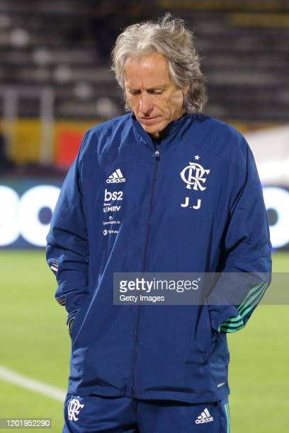 Jorge Jesus head coach of Flamengo reacts during the first leg between Independiente del Valle and Flamengo as part of Recopa Sudamericana 2020 at...