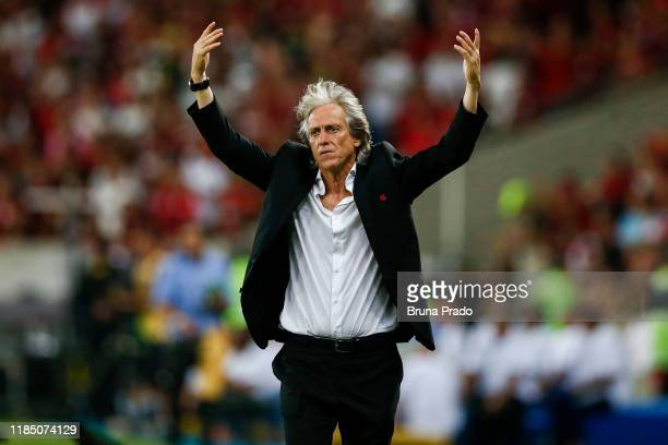 Jorge Jesus head coach of Flamengo reacts during the match against Ceará for the Brasileirao Series A 2019 at Maracana Stadium on November 27 2019 in...