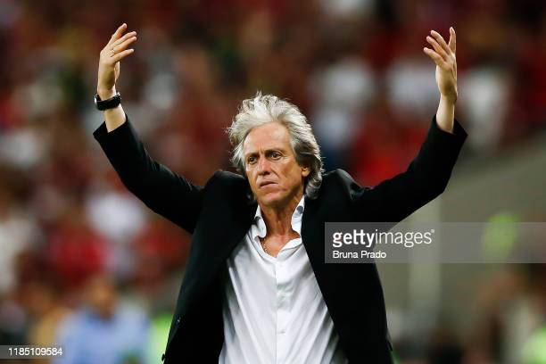 Jorge Jesus head coach of Flamengo reacts during the match against Ceara for the Brasileirao Series A 2019 at Maracana Stadium on November 27, 2019...