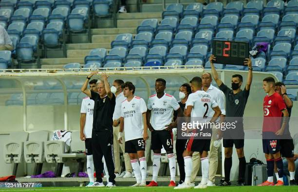 Jorge Jesus head coach of SL Benfica reacts during the Pre-Season Friendly match between SL Benfica and Lille at Estadio Algarve on July 22, 2021 in...