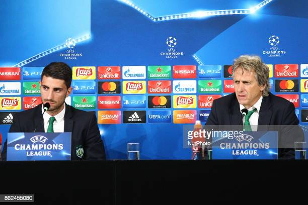 Jorge Jesus head coach of Sporting CP and Cristiano Piccini during the Sporting CP press conference on the eve of the UEFA Champions League match...