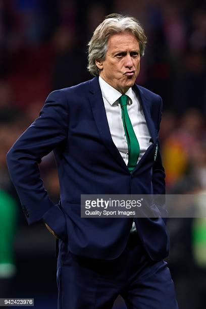 Jorge Jesus head coach of Sporting CP reacts after the UEFA Europa League quarter final leg one match between Atletico Madrid and Sporting CP at...