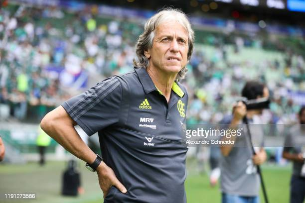 Jorge Jesus, headcoach of Flamengo looks on before the match against Palmeiras for the Brasileirao Series A 2019 at Allianz Parque on December 01,...