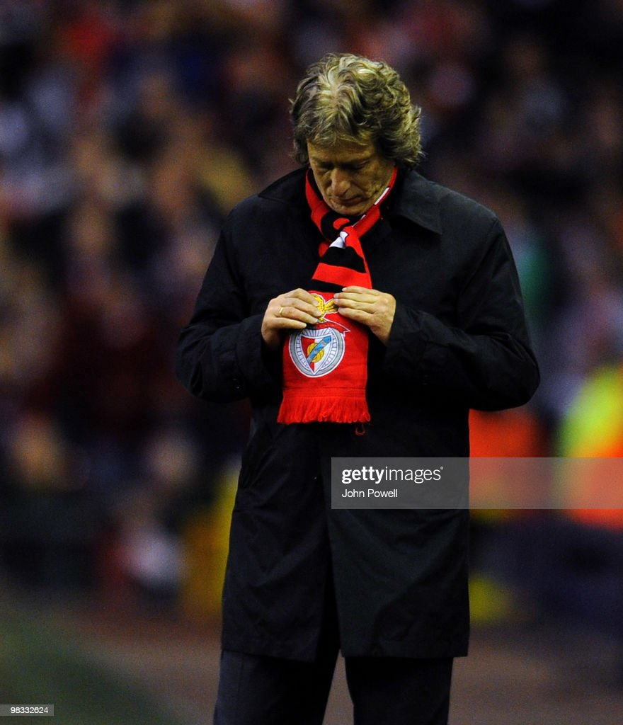 Jorge Jesus manager of Benfica looks dejected during the quarter final second leg UEFA Europa League match between Liverpool and Benfica at Anfield on April 8, 2010 in Liverpool, England.