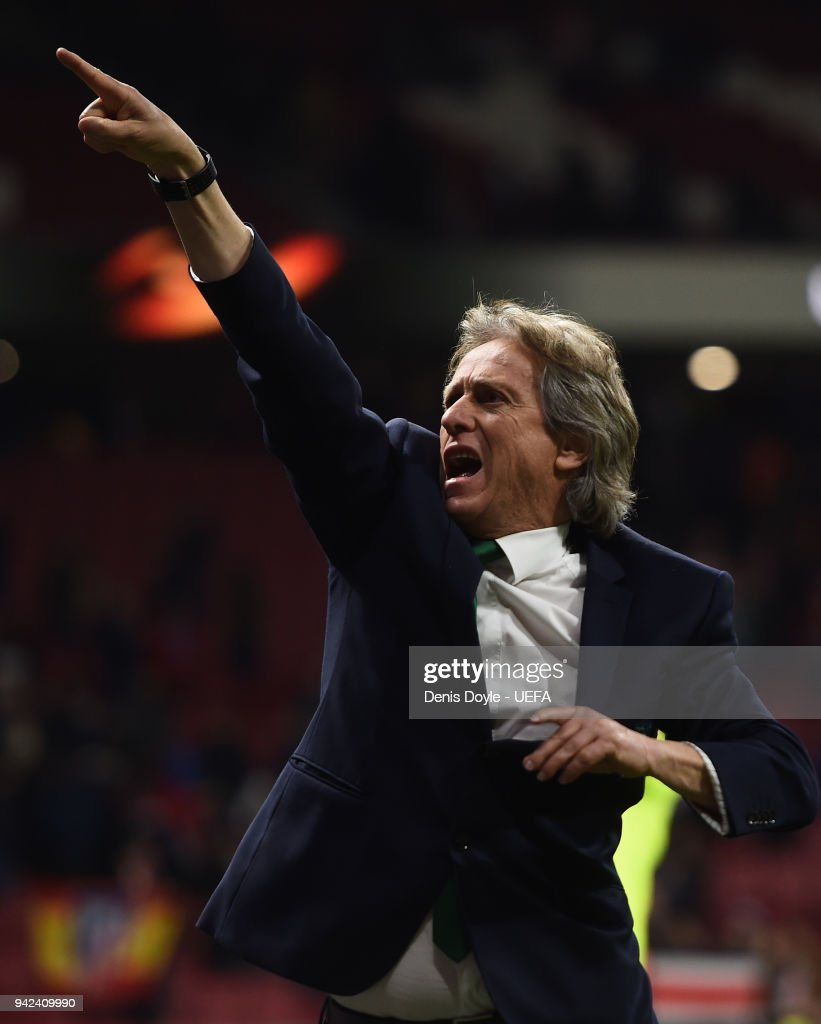 Jorge Jesus, manager of Sporting CP points towards his team's fans after the UEFA Europa League quarter final leg one match between Atletico Madrid and Sporting CP at Wanda Metropolitano on April 5, 2018 in Madrid, Spain.