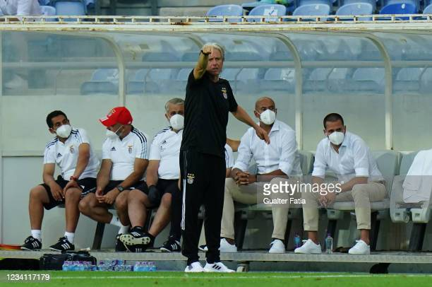 Jorge Jesus of SL Benfica in action during the Pre-Season Friendly match between SL Benfica and Lille at Estadio Algarve on July 22, 2021 in Loule,...