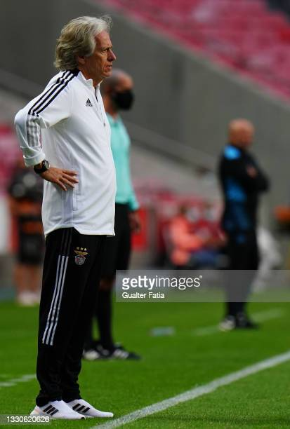 Jorge Jesus of SL Benfica in action during the Pre-Season Friendly match between SL Benfica and Olympique Marseille at Estadio da Luz on July 25,...