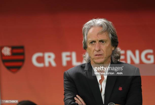 Jorge Jesus the head coach / manager of CR Flamengo during the FIFA Club World Cup Qatar 2019 Semi Final match between CR Flamengo and Al Hilal FC at...