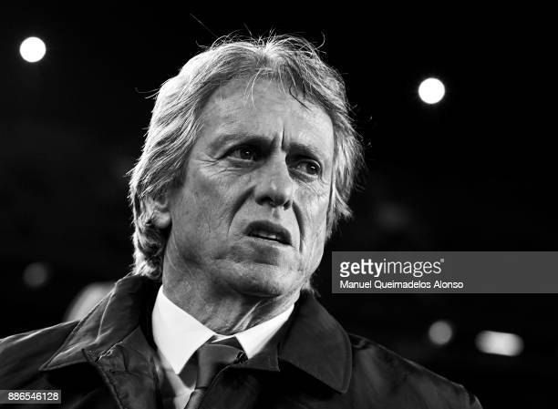 Jorge Jesus the manager of Sporting CP looks on prior to the UEFA Champions League group D match between FC Barcelona and Sporting CP at Camp Nou on...