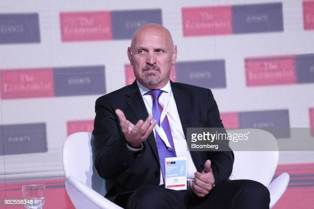 Jorge Lawson director of Banco de la Nacion Argentina speaks during the Argentina Summit in Buenos Aires Argentina on Thursday March 15 2018 The...