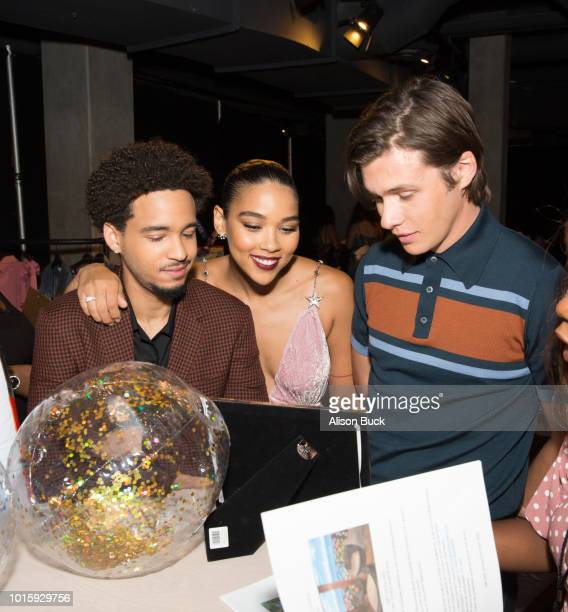 Jorge Lendeborg Jr Alexandra Shipp and Nick Robinson attend Backstage Creations Celebrity Retreat At Teen Choice 2018 Day 2 at The Forum on August 12...