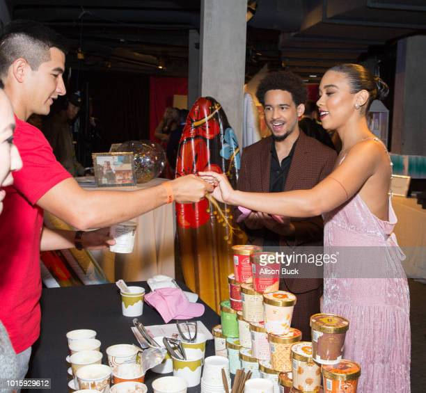 Jorge Lendeborg Jr and Alexandra Shipp attend Backstage Creations Celebrity Retreat At Teen Choice 2018 Day 2 at The Forum on August 12 2018 in...