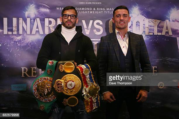 Jorge Linares and Anthony Crolla during a press conference at the Radisson Hotel on January 24 2017 in Manchester England The two lightweight boxers...