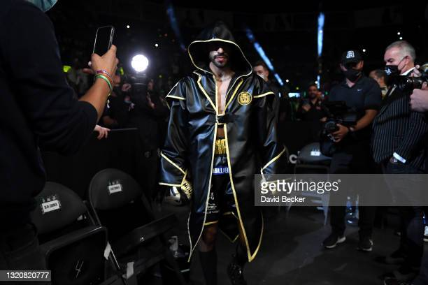 Jorge Linares arrives for his WBC lightweight title fight against Devin Haney at Michelob ULTRA Arena on May 29, 2021 in Las Vegas, Nevada. Haney won...