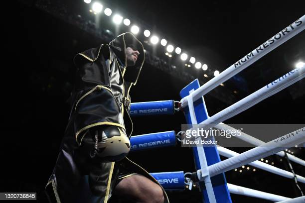 Jorge Linares arrives for his WBC lightweight title fight with Devin Haney at Michelob ULTRA Arena on May 29, 2021 in Las Vegas, Nevada. Haney won by...