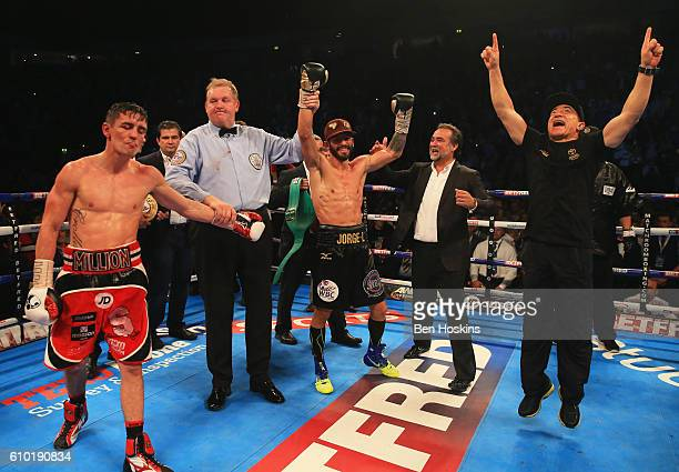 Jorge Linares celebrates as he is awarded victory over Anthony Crolla after their contest for WBA, WBC Diamond and Ring Magazine Lightweight World...
