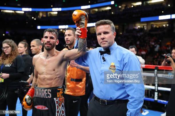 Jorge Linares celebrates his knock out victory over Carlos Morales at the Honda Center on February 14, 2020 in Anaheim, California.