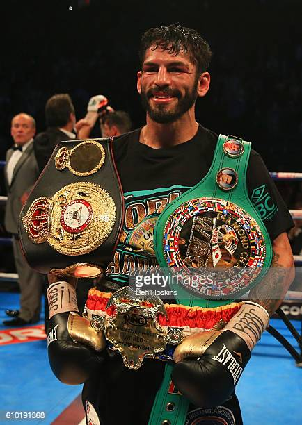 Jorge Linares celebrates victory over Anthony Crolla after their contest for WBA WBC Diamond and Ring Magazine Lightweight World Titles at Manchester...