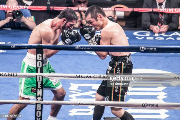 Jorge Linares defeats Nihito Arakawa by UD in their Lightweight boxing match at The MGM Hotel on March 8, 2014 in Las Vegas. Both men square off.