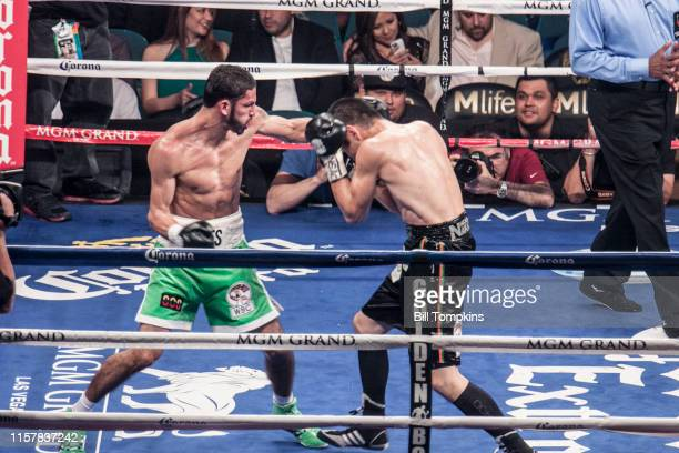 Jorge Linares defeats Nihito Arakawa by UD in their Lightweight boxing match at The MGM Hotel on March 8, 2014 in Las Vegas. Linares connects with a...