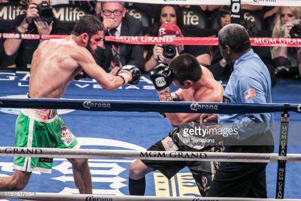 Jorge Linares defeats Nihito Arakawa by UD in their Lightweight boxing match at The MGM Hotel on March 8, 2014 in Las Vegas. Linares throws a right.