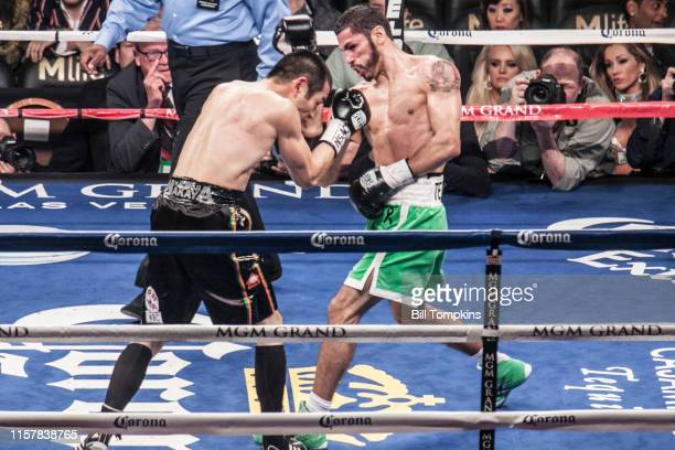 Jorge Linares defeats Nihito Arakawa by UD in their Lightweight boxing match at The MGM Hotel on March 8, 2014 in Las Vegas. Linares throws an...