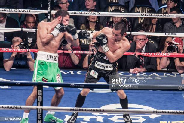 Jorge Linares defeats Nihito Arakawa by UD in their Lightweight boxing match at The MGM Hotel on March 8, 2014 in Las Vegas. Linares misses with a...
