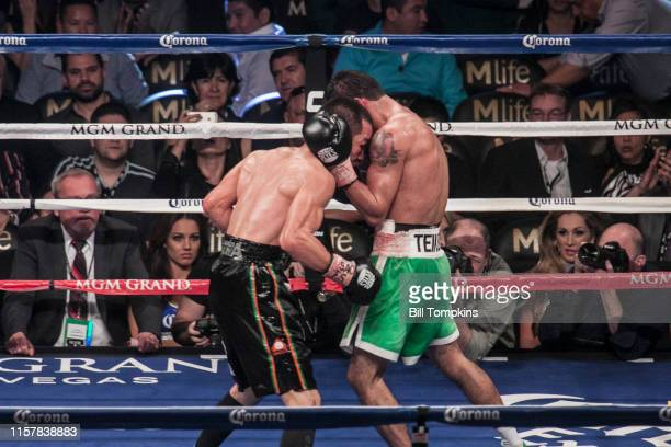 Jorge Linares defeats Nihito Arakawa by UD in their Lightweight boxing match at The MGM Hotel on March 8, 2014 in Las Vegas. Linares holds Wong.
