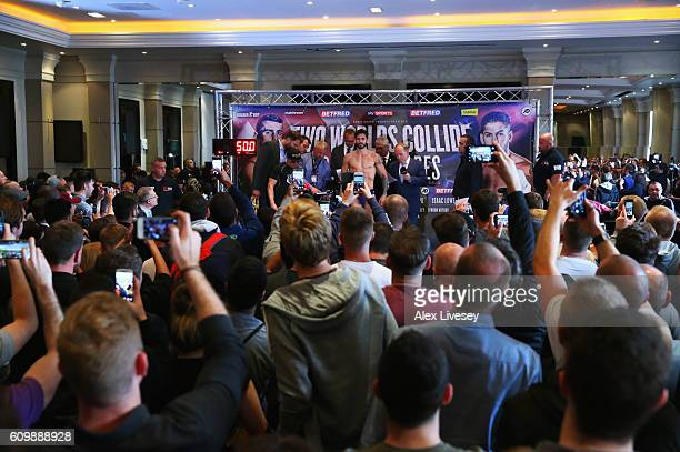 Jorge Linares in the media spotlight as he attends the WeighIn ahead of their Lightweight World title fight against Anthony Crolla at Radisson...