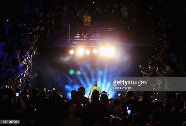 Jorge Linares makes his entrance prior to the contest for WBA, WBC Diamond and Ring Magazine Lightweight World Titles against Anthony Crollaat...