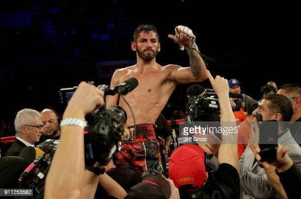 Jorge Linares of Venezuela celebrates his victory over Mercito Gesta at The Forum on January 27 2018 in Inglewood California