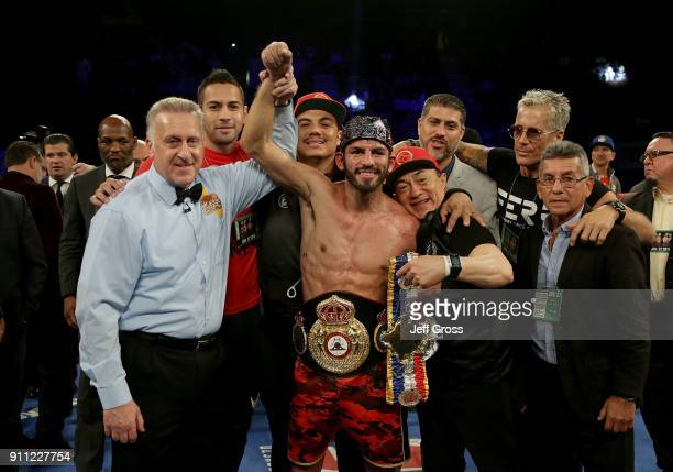 Jorge Linares of Venezuela celebrates his WBA and Ring lightweight title over Mercito Gesta at The Forum on January 27 2018 in Inglewood California