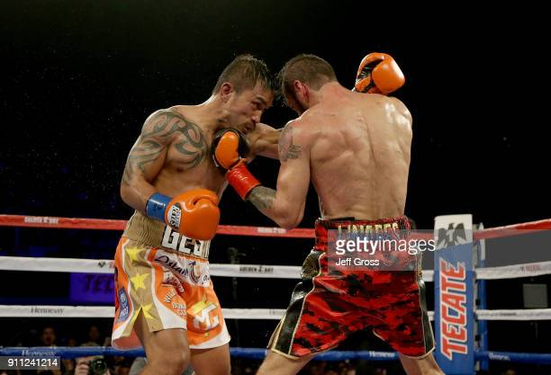Jorge Linares of Venezuela lands a left hand to the chin of Mercito Gesta during their bout at The Forum on January 27 2018 in Inglewood California