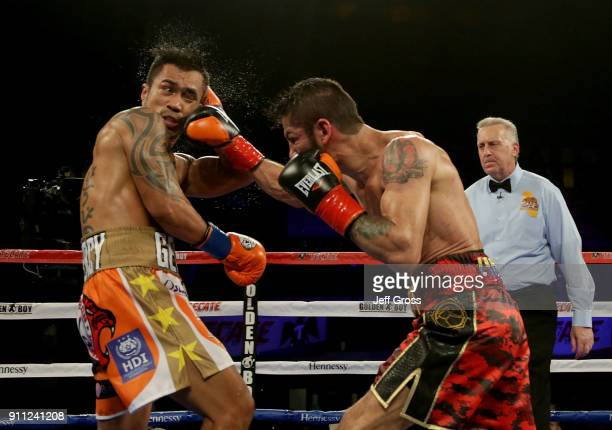 Jorge Linares of Venezuela lands a right hand to the head of Mercito Gesta during their bout at The Forum on January 27 2018 in Inglewood California