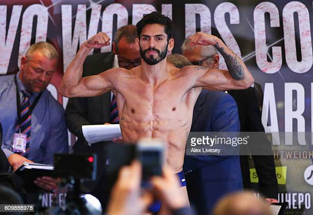 Jorge Linares poses as he attends the Weigh-In ahead of their Lightweight World title fight against Anthony Crolla at Radisson Edwardian Hotel on...