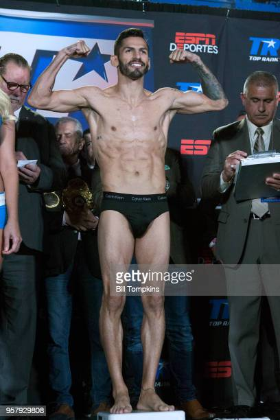 Jorge Linares weighs in for his upcoming Lightweight fight against Vasiliy Lomachenko Madison Square Garden NYC on May 11 2018 in New York City