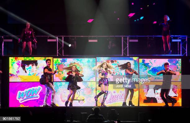 Jorge Lopez Ana Jara Karol Sevilla Valentina Zenere and Ruggero Pasquarelli perform on stage during Disney show Soy Luna at Palau Sant Jordi on...
