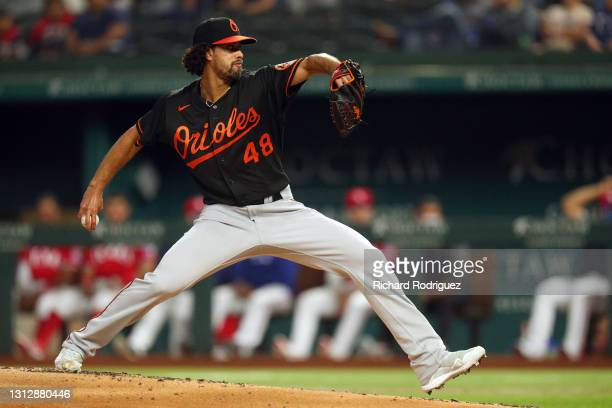 Jorge Lopez of the Baltimore Orioles delivers a pitch in the first inning against the Texas Rangers at Globe Life Field on April 16, 2021 in...